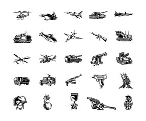 military tool clipart cartoon set. Vector Illustration.. Collection set