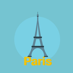 Eiffel tower flat design with text shadow colorful