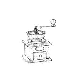 Vintage coffee grinder. Vector illustration for a postcard or a poster.