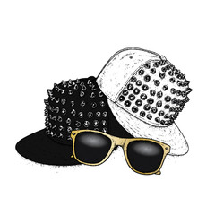 Stylish cap with spikes and sunglasses. Vector illustration for a postcard or a poster. Clothes and accessories. Fashion & Style.