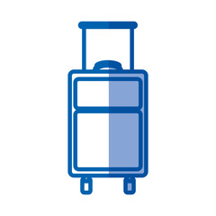 blue shading silhouette of suitcase of traveler vector illustration