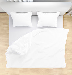 Bed sheets and pillows messed up after nights sleep ,comfort and bedding in a hotel room, concept travel and vacation top view,, 3D illustration