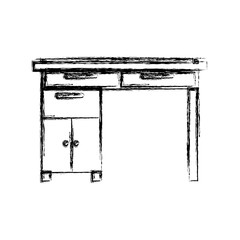monochrome blurred silhouette of wooden home desk with drawers vector illustration