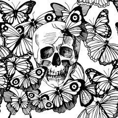 Skull surrounded and covered with multiple butterflies