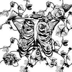 Black and white ribcage with flowers