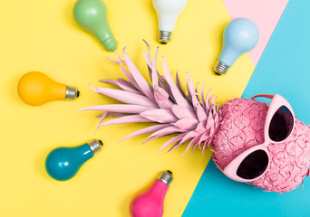 Wall Mural - Pink pineapple and colored lightbulbs