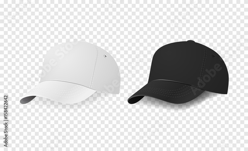 White and black baseball cap icon set. Design template closeup in ...