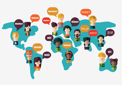 Set of social people on World map with speech bubbles in different languages