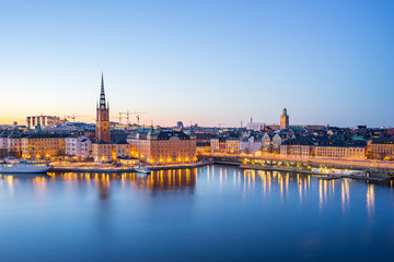 The Gamla Stan (old town) at night in Stockholm city, Sweden