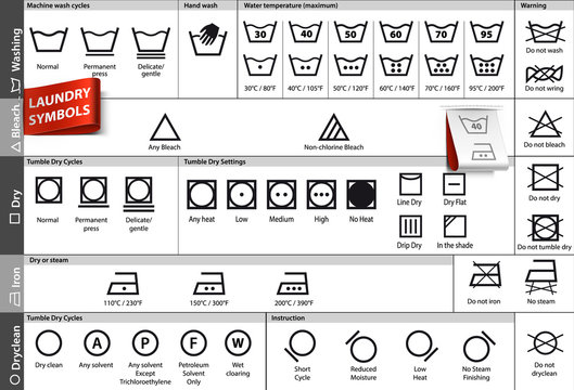 Set of laundry symbols. Vector elements ready for your design.