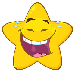 Happy Yellow Star Cartoon Emoji Face Character With Laughing Expression. Illustration Isolated On White Background