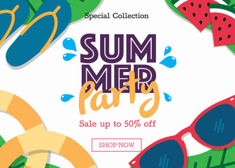 Summer sale background layout banners template. Discount voucher Vector illustration design.