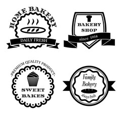 Set of vector logos, badges and labels for bakery.