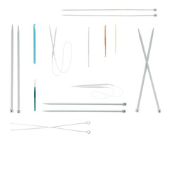 Hooks and needles of different sizes. Isolate. White background.