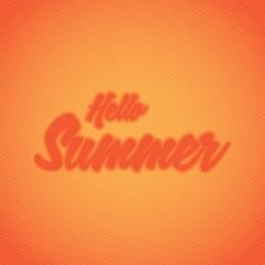 hello summer lettering with blur effect text