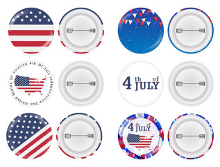 round brooch 4th of july and america flag theme