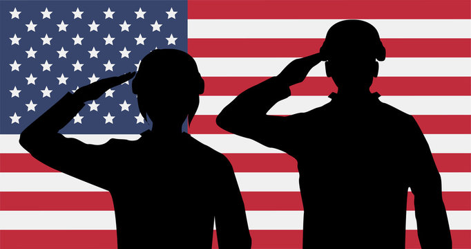 silhouette american soldiers salute on usa flag