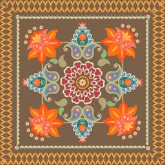 Decorative ornament with paisley in indonesian style. Batik. Bandana print, napkin, carpet.