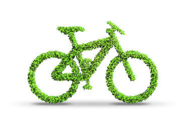 Green bycycle in transportation concept - 3d rendering
