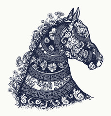 Horse tattoo and t-shirt design. Symbol of freedom, strength, grace. Horse head in ethnic style tattoo art