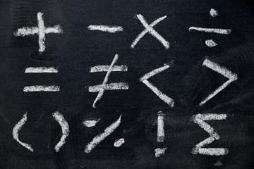 Set of math symbol draw by white chalk on blackboard background