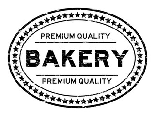 Grunge black premium quality baker oval rubber seal stamp on white background