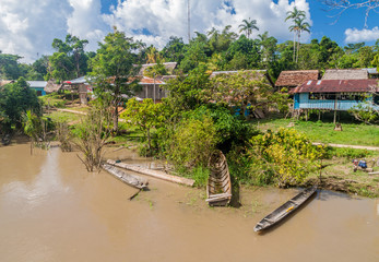 Small village in a peruvian jungle along Napo river