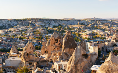 Top view of Goreme town. Cappadocia. Turkey