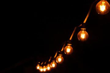 Decorative light bulbs on dark black background