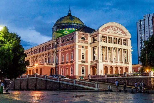 MANAUS, BRAZIL - JULY 26, 2015: Teatro Amazonas, famous theatre building in Manaus, Brazil
