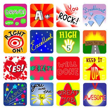 Vector Achievement school Labels. Set of 16 vector stickers