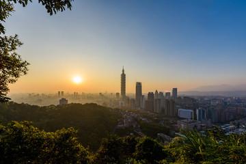 Taipei, Taiwan city skyline at sunset.