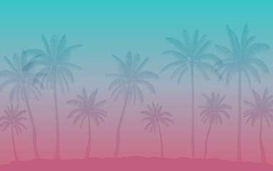 Vintage style background of Silhouette palm tree in flat icon design
