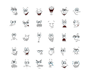 Collection of 30 character faces, hand draw