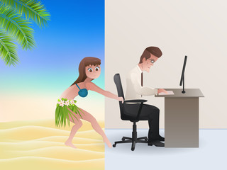 Office or beach?Summer vacation concept.Vector illustration.