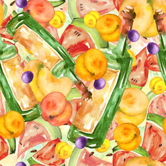 Seamless watercolor pattern with tropical fruits, a bottle of red wine, a glass, peach taste, apricot, grapes, watermelon, berry. Beautiful, vintage drawing, hand-drawn graphics for various design