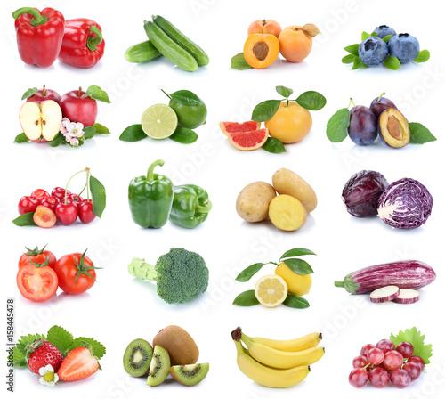 Obst und Gemüse Früchte Apfel Tomaten Beeren Farben frische Collage ...