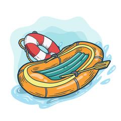Inflatable boat with lifebuoy hand drawn engraving sketch vector summer voyage cruise transportation illustration. Retro vintage marine transport. Boat symbol on white background.