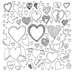 Heart Doodle Icon vector set eps10