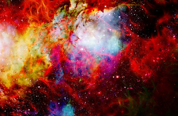 Fire flame in space. Cosmic space and stars, color cosmic abstract background.