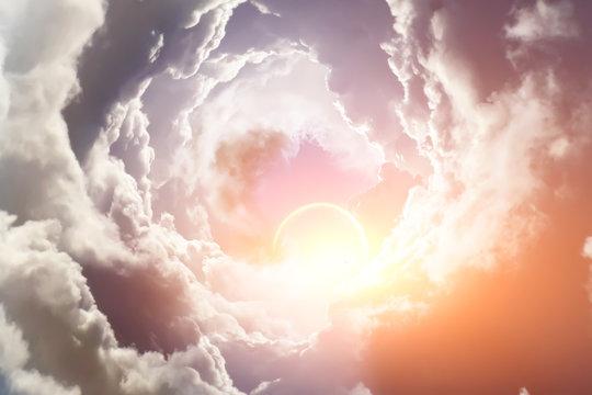 Sunlight pierces through the clouds