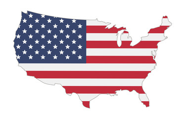 map of united states of america flag