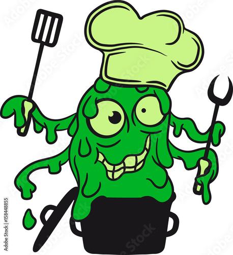 Kochen Kuche Schleim Klebrig Ekelig Horror Halloween Koch Chef