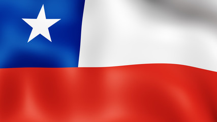 Flag of the Chile, fluttering in the wind. 3D rendering. It is different phases of the movement close-up flag in the wind.