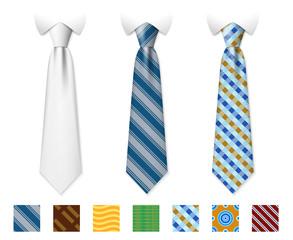 Customizable neckties vector templates with seamless textures set