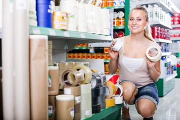 woman customer in housewares hypermarket.
