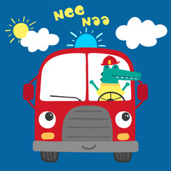 cute fire truck illustration with cartoon crocodile