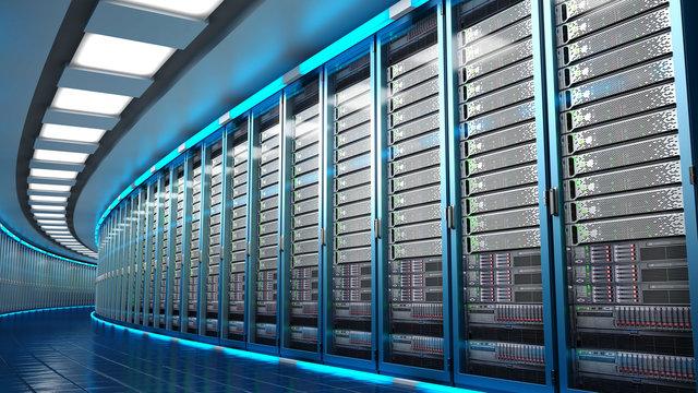 Modern datacenter. Cloud computing. 3d rendering
