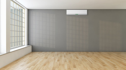 Living room with air conditioning. 3D rendering