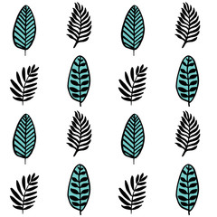 Scandinavial style simple leaves and branches seamless pattern
